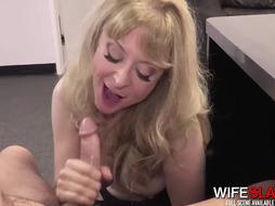 Filthy mature towheaded doll in tights is being pounded, by a youthful dude, while in the office